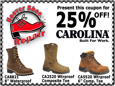 25 percent off of Carolina Workboots